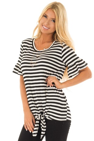 Black and Ivory Striped Tee with Tie Front Detail front close up