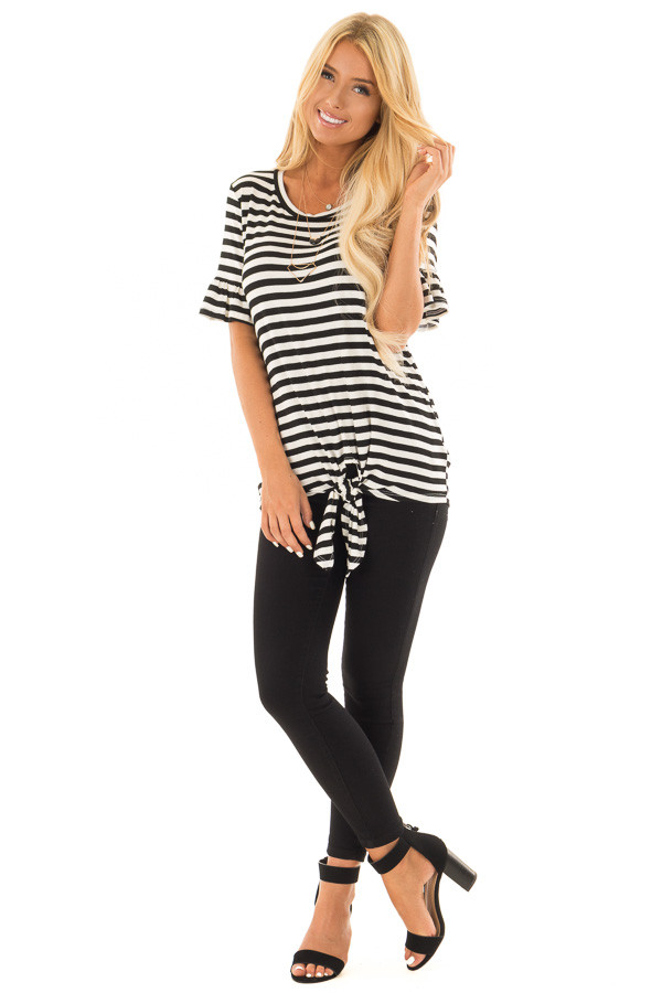 Black and Ivory Striped Tee with Tie Front Detail front full body