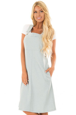 Sage Overall Dress with Pockets front close up