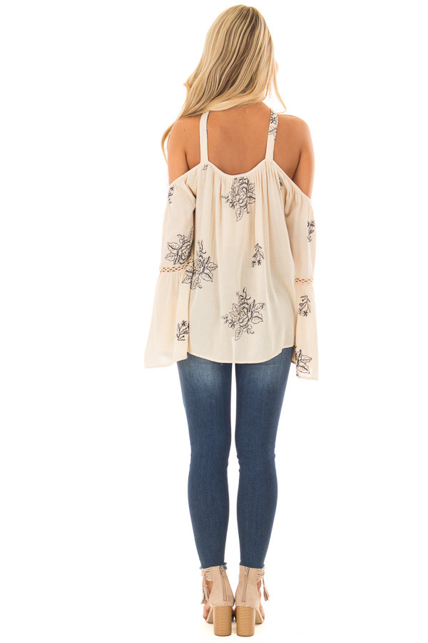Cream Bell Sleeve Top with Floral Embroidery back full body