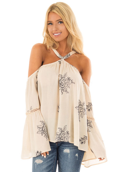Cream Bell Sleeve Top with Floral Embroidery front close up