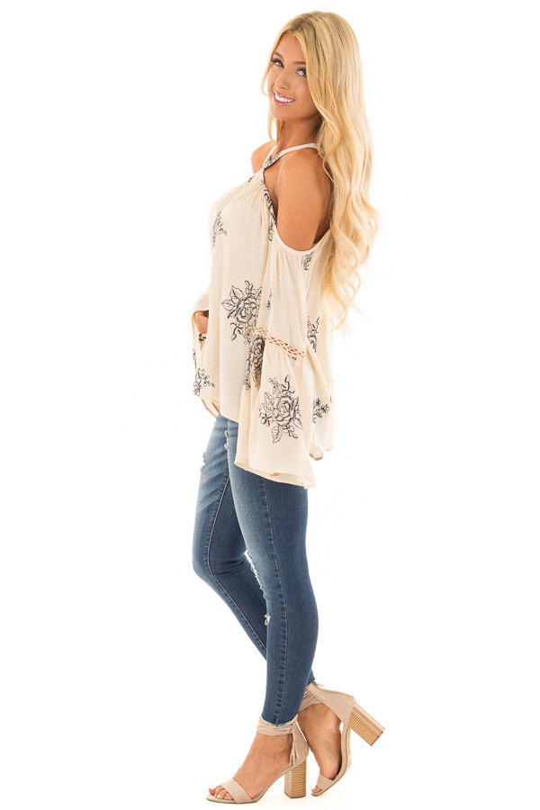 Cream Bell Sleeve Top with Floral Embroidery side full body
