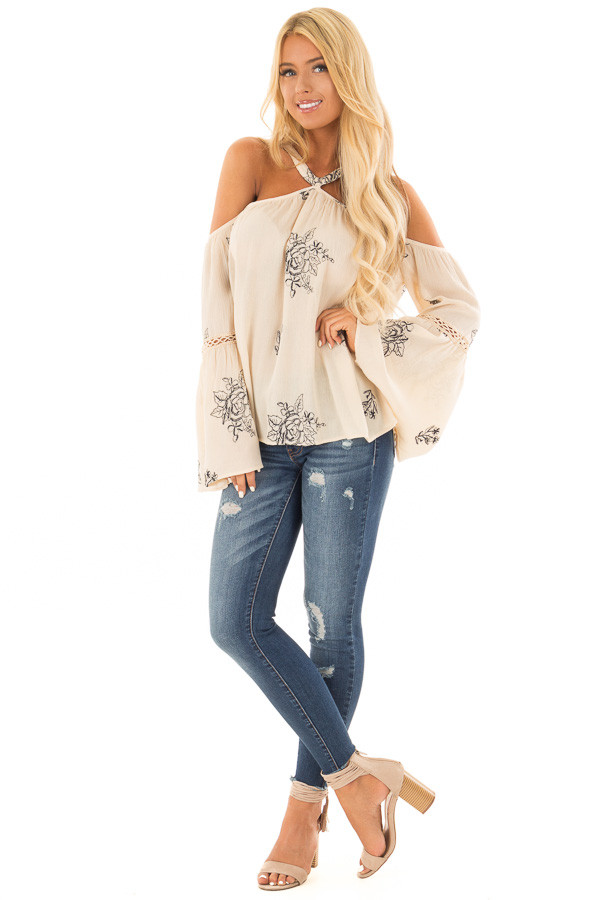 Cream Bell Sleeve Top with Floral Embroidery front full body