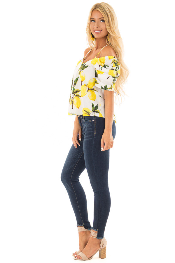 White Cold Shoulder Top with Lemon Print side full body