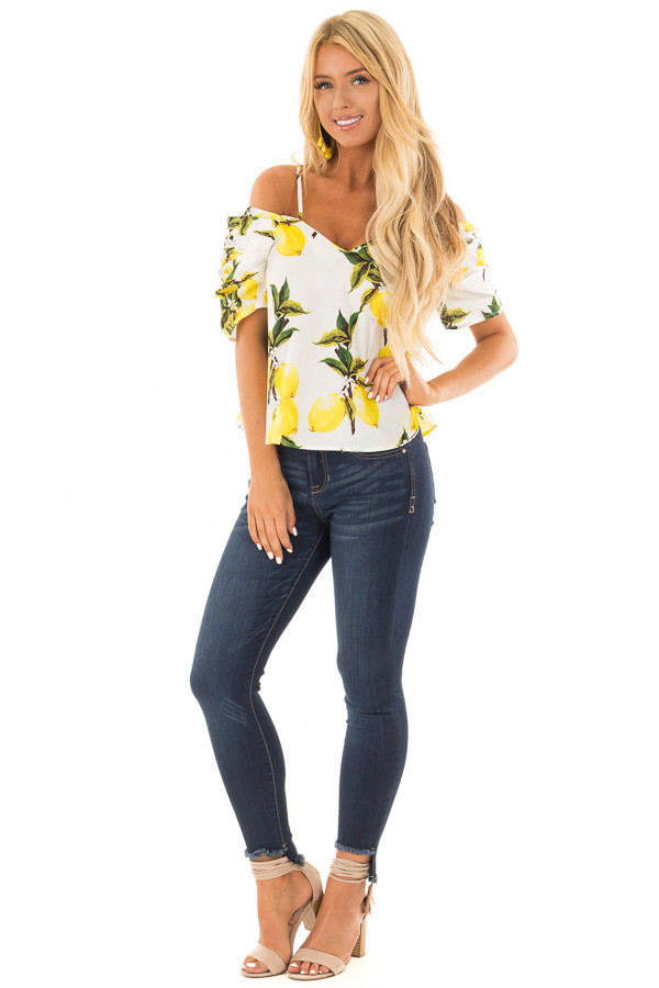 White Cold Shoulder Top with Lemon Print front full body