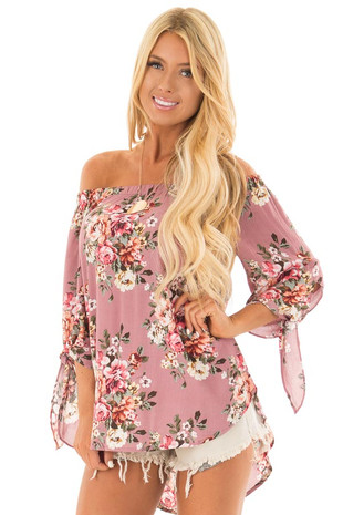 Dusty Rose Floral Off the Shoulder Blouse with Tie Sleeves front close up