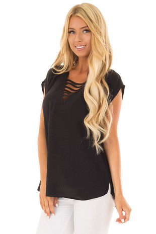 Black Cap Sleeve Top with Ladder Neckline front close up