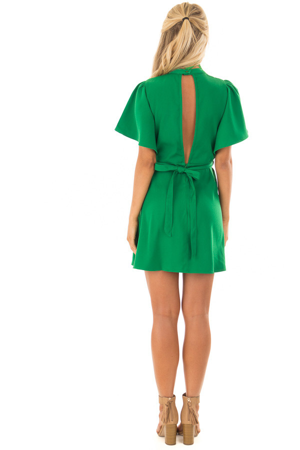 Kelly Green Dress with Cut Out Back and Waist Tie back full body