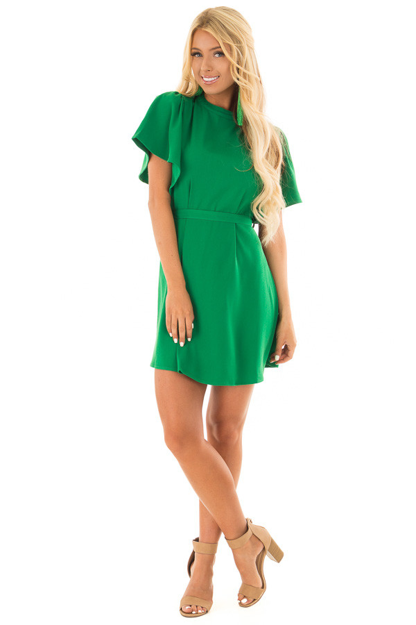 Kelly Green Dress with Cut Out Back and Waist Tie front full body