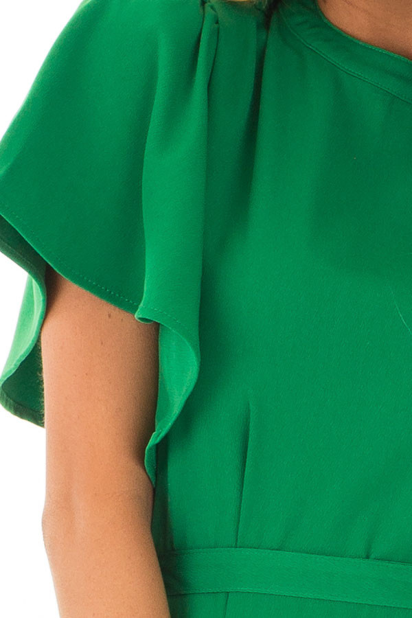 Kelly Green Dress with Cut Out Back and Waist Tie detail
