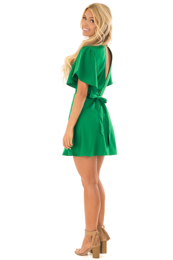 Kelly Green Dress with Cut Out Back and Waist Tie back side full body