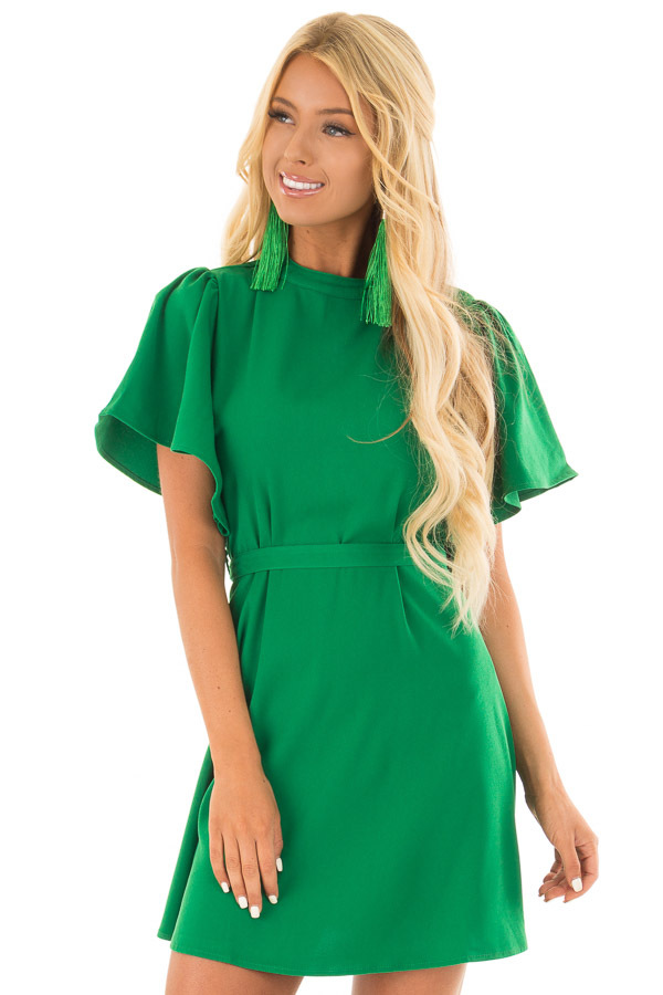 Kelly Green Dress with Cut Out Back and Waist Tie front close up