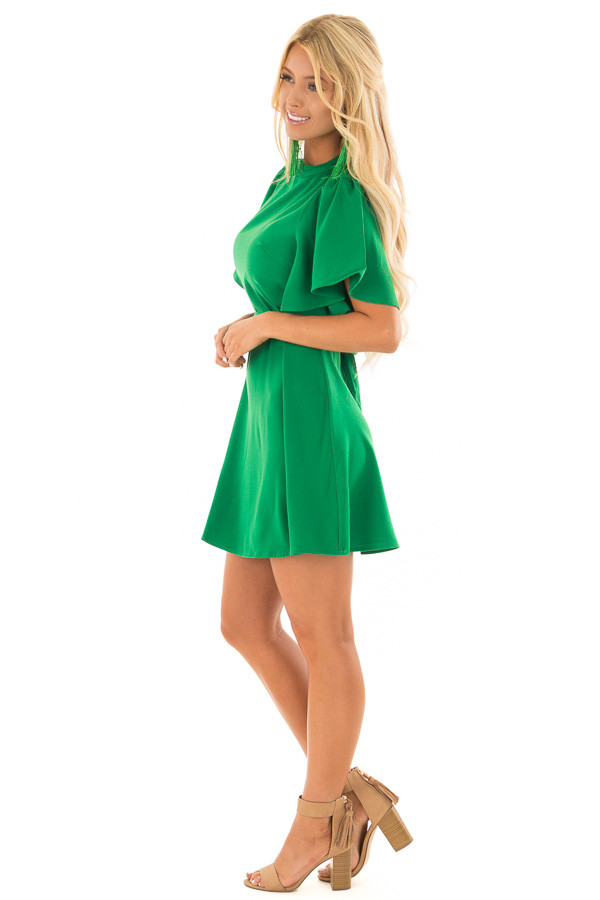 Kelly Green Dress with Cut Out Back and Waist Tie side full body