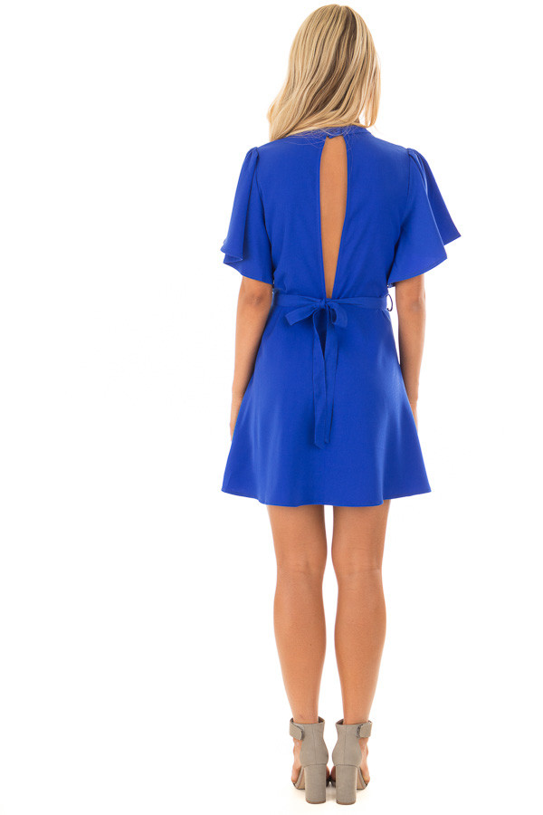 Royal Blue Dress with Cut Out Back and Waist Tie back full body