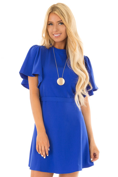 Royal Blue Dress with Cut Out Back and Waist Tie front close up