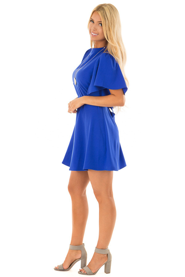 Royal Blue Dress with Cut Out Back and Waist Tie side full body