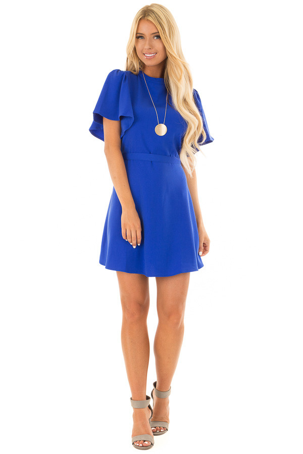 Royal Blue Dress with Cut Out Back and Waist Tie front full body