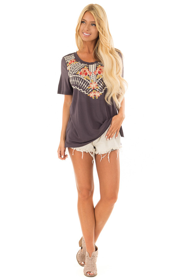 Charcoal Short Sleeve Tee with Embroidered Detail front full body