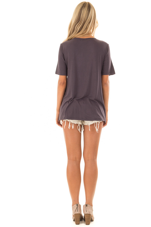 Charcoal Short Sleeve Tee with Embroidered Detail back full body