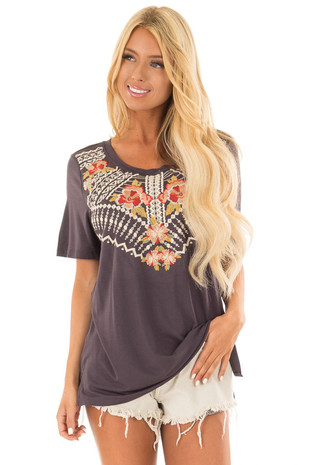 Charcoal Short Sleeve Tee with Embroidered Detail front close up