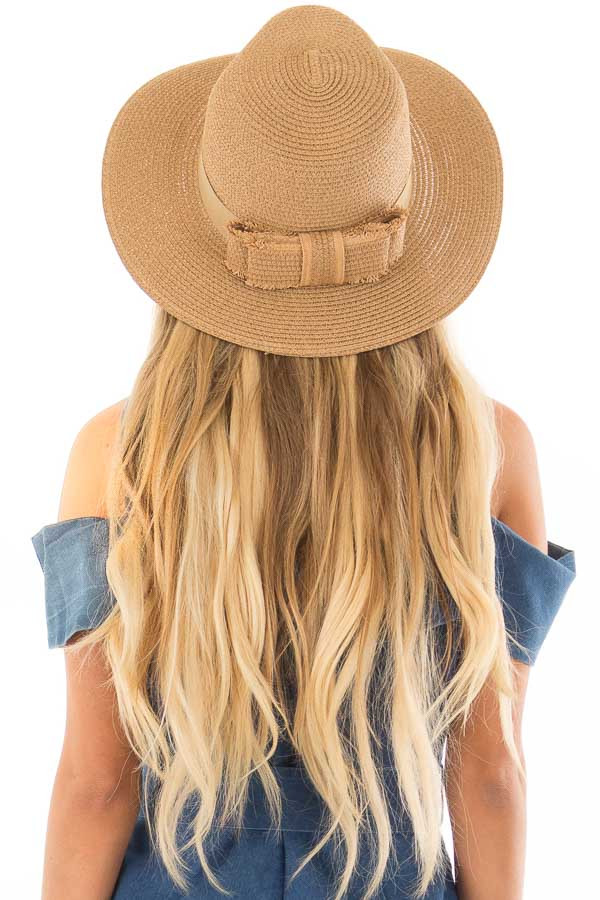 Natural Straw Panama Hat with Matching Straw Bow back view