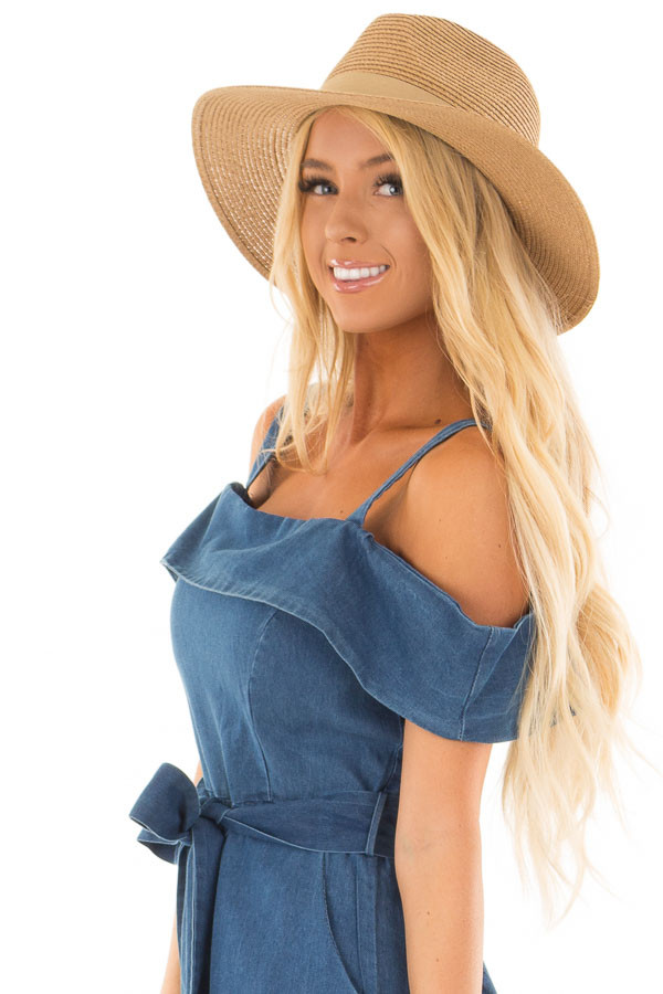 Natural Straw Panama Hat with Matching Straw Bow side view