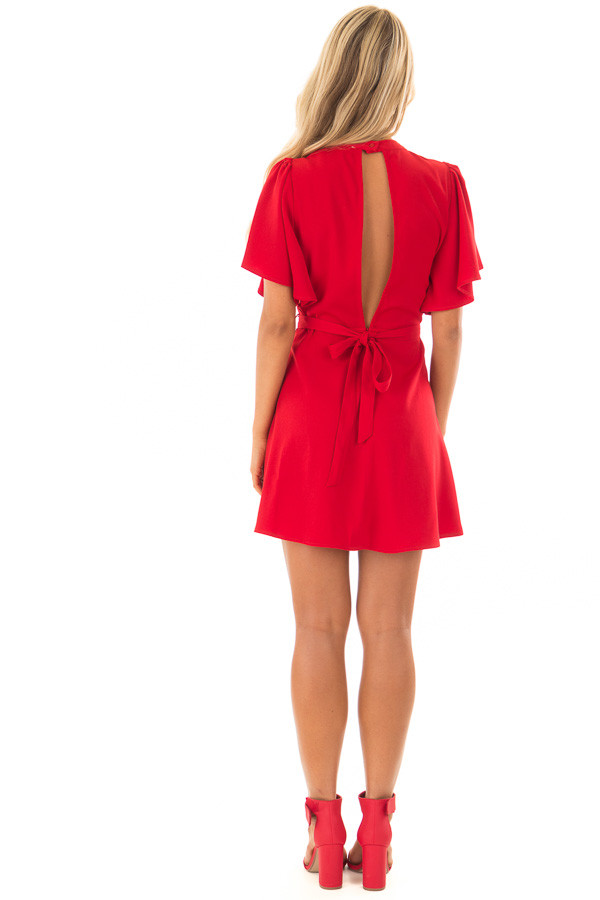 Deep Red Dress with Cut Out Back and Waist Tie back full body