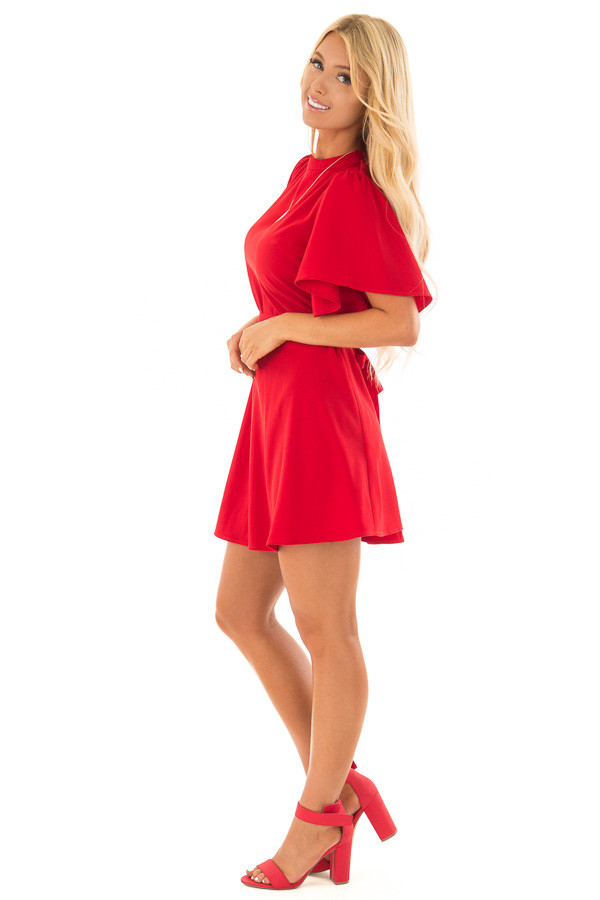 Deep Red Dress with Cut Out Back and Waist Tie side full body