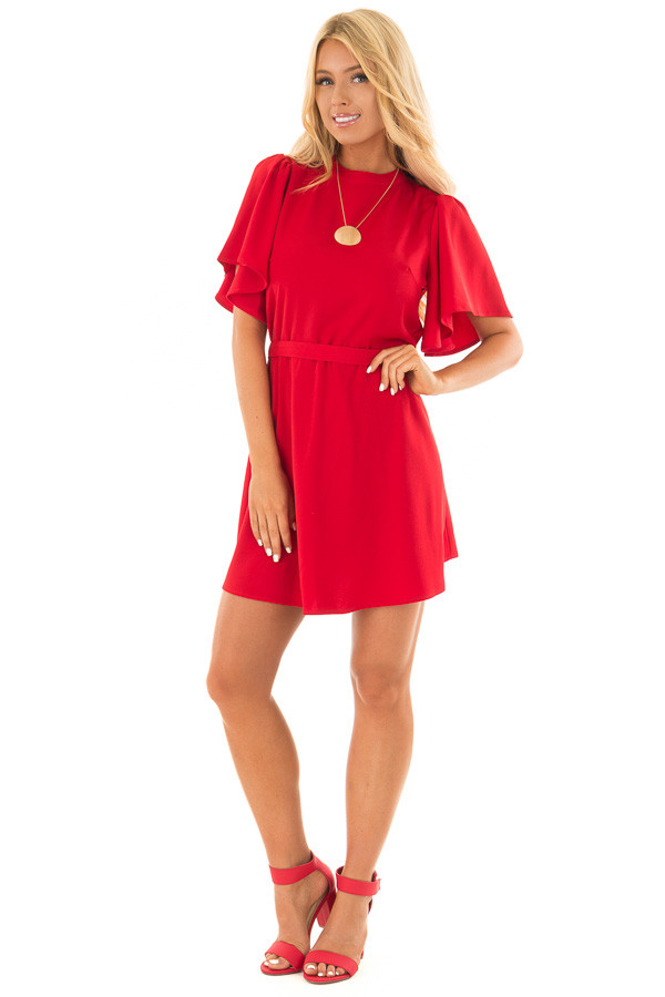 Deep Red Dress with Cut Out Back and Waist Tie front full body