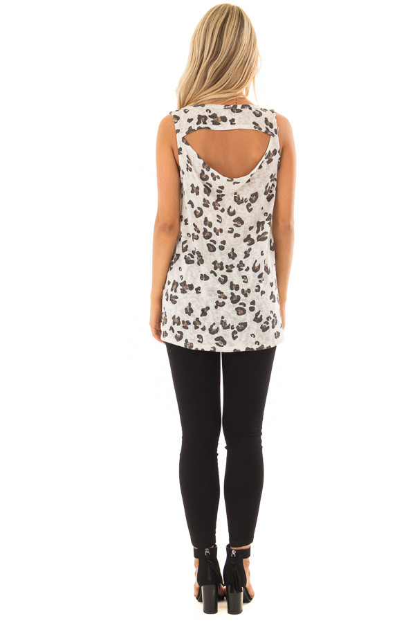 Ivory Leopard Print Tank Top with Cut Out Back back full body