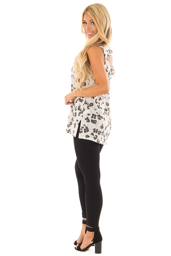 Ivory Leopard Print Tank Top with Cut Out Back back side full body