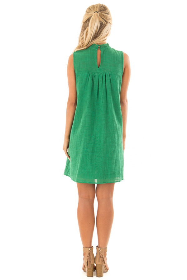 Emerald Green Short Dress with Embroidered Detail back full body