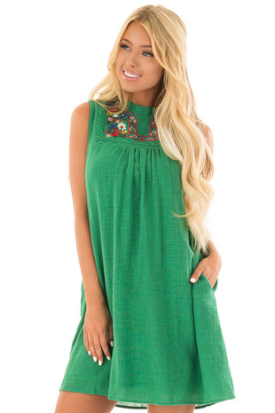 Emerald Green Short Dress with Embroidered Detail front close up
