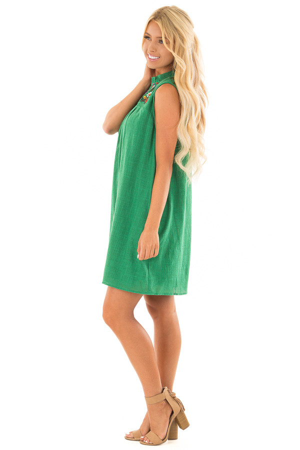 Emerald Green Short Dress with Embroidered Detail side full body
