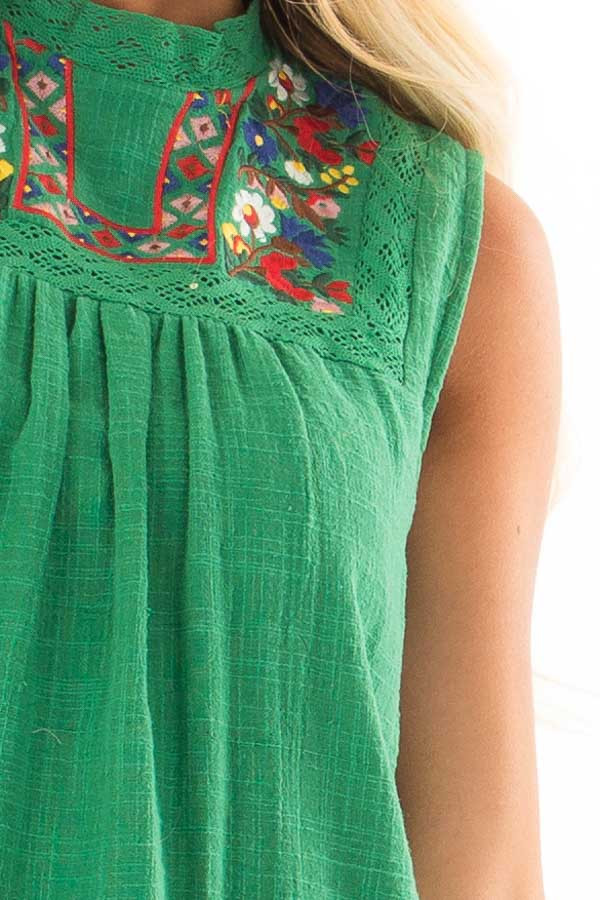 Emerald Green Short Dress with Embroidered Detail detail