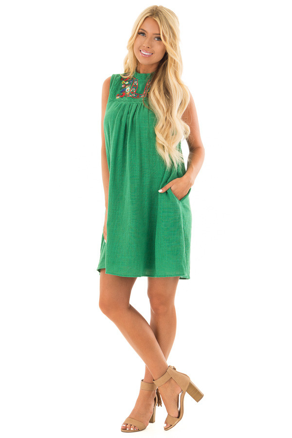 Emerald Green Short Dress with Embroidered Detail front full body