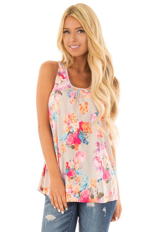 Neon Floral Print Tank Top with Neon Back Zipper front close up