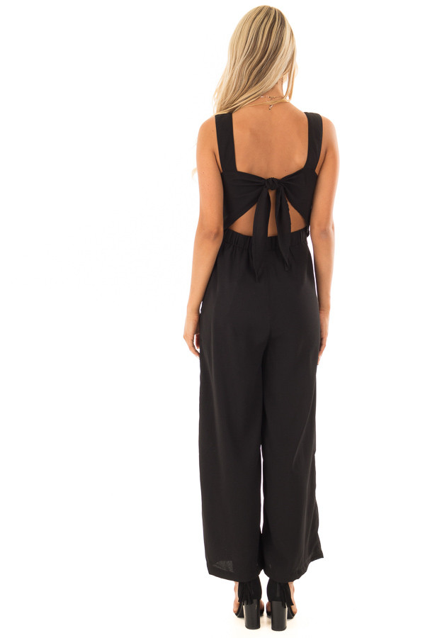 Black Jumpsuit with Pockets and Tie Detail back full body