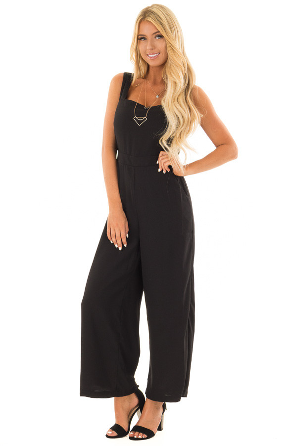 Black Jumpsuit with Pockets and Tie Detail front full body