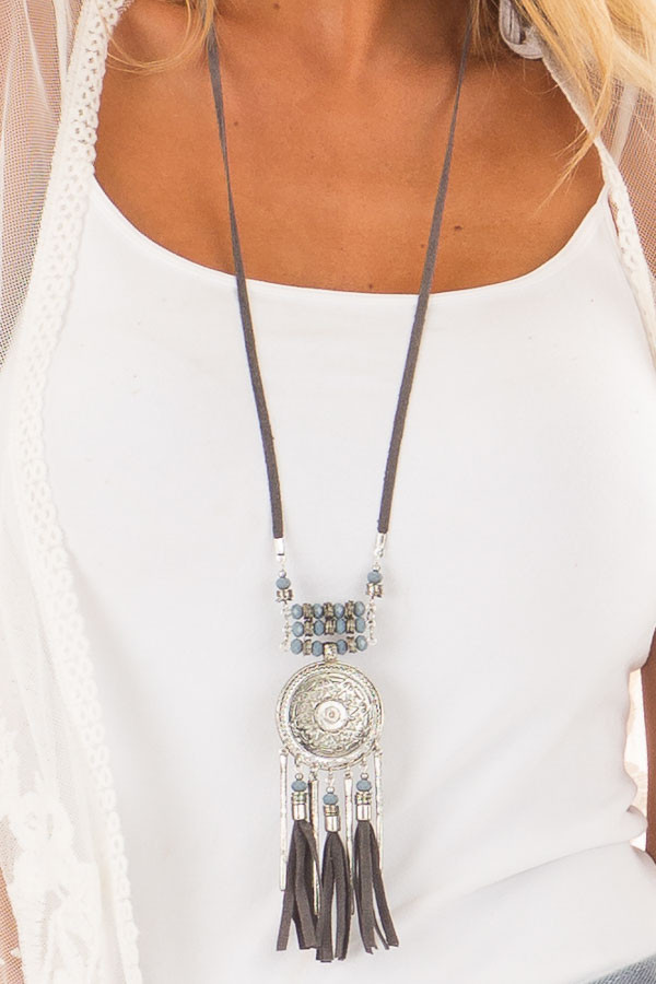 Grey Faux Suede Necklace with Silver Medallion close up