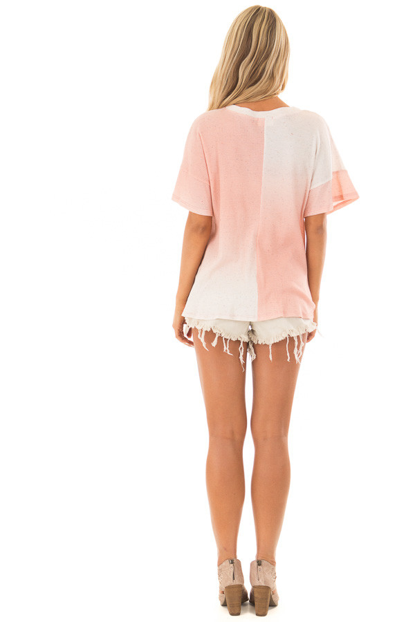 Blush Ombre Textured Top with Front Twist back full body