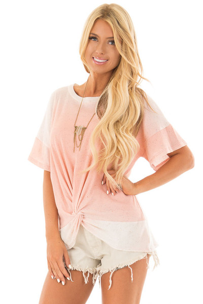 Blush Ombre Textured Top with Front Twist front close up