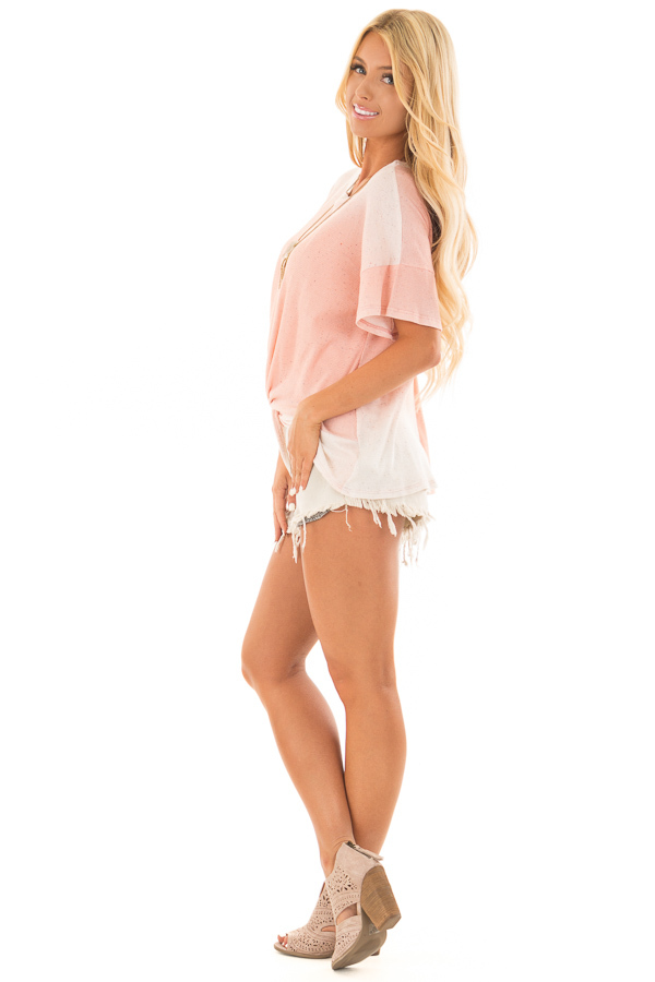 Blush Ombre Textured Top with Front Twist side full body