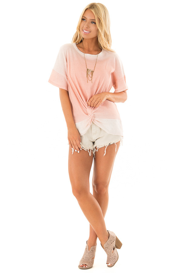 Blush Ombre Textured Top with Front Twist front full body