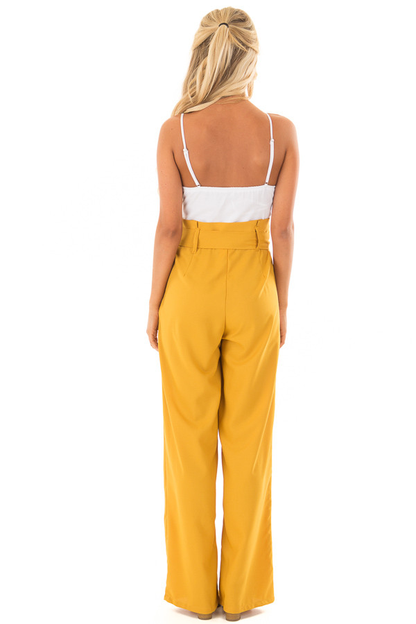 Mustard Jumpsuit with Waist Tie and Side Pockets back full body