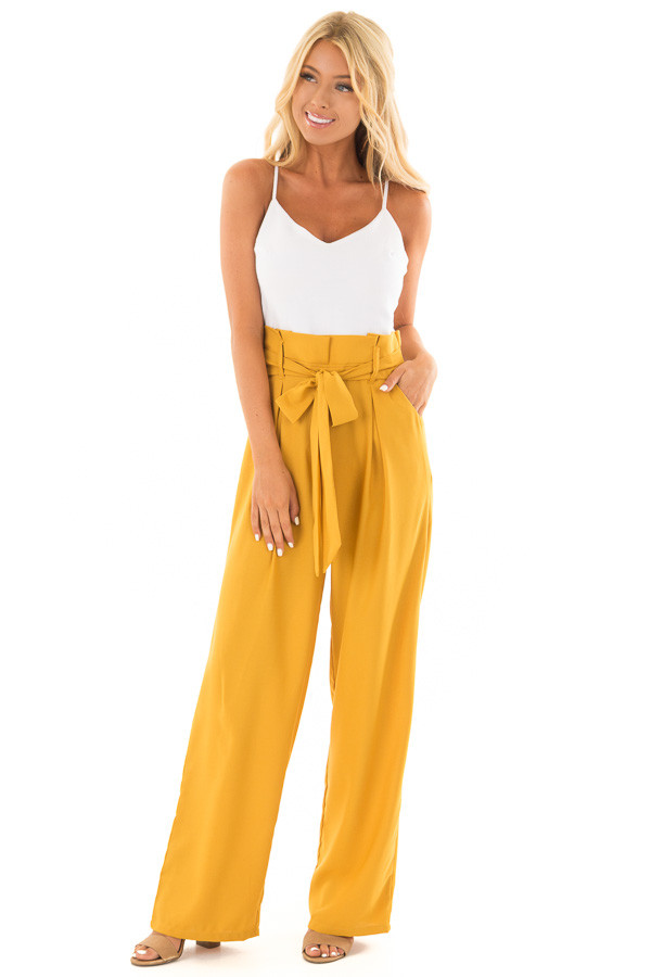 Mustard Jumpsuit with Waist Tie and Side Pockets front full body