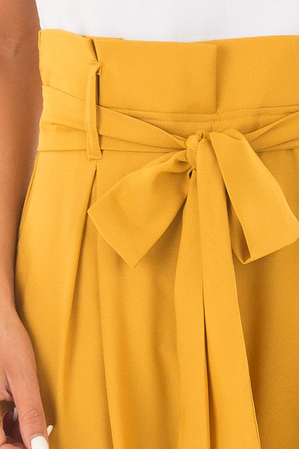 Mustard Jumpsuit with Waist Tie and Side Pockets detail