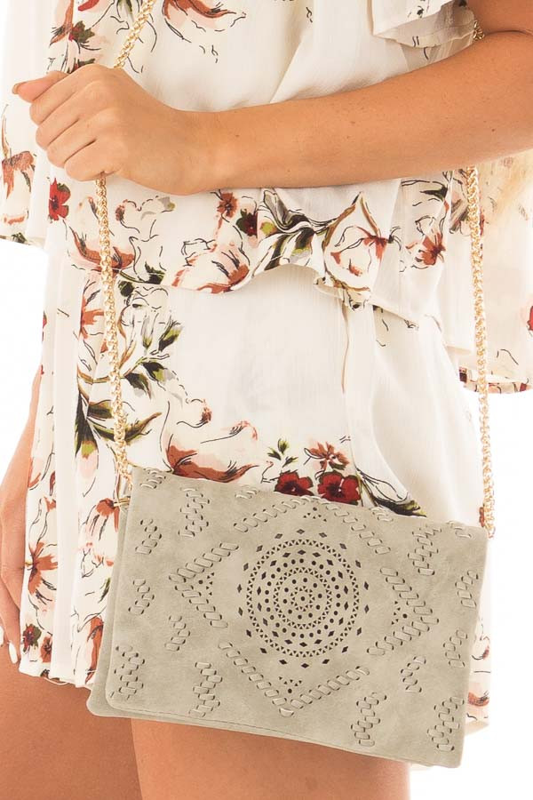Grey Clutch with Perforated and Braided Boho Details detail