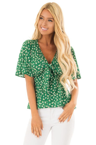 Kelly Green Front Tie Top with Leaf Print Detail front close up