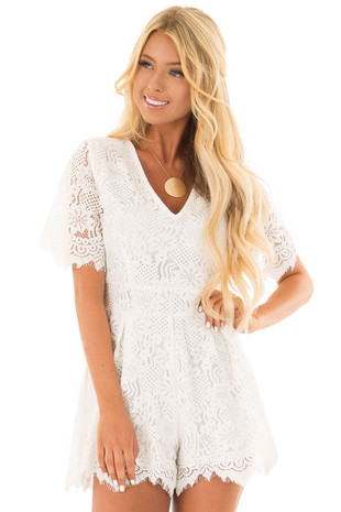 Off White Lace V Neck Romper front close up